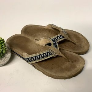 UGG Australia Tan & Blue Woven Shearling Sandals